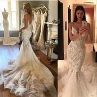 Wholesale crystal mermaid spaghetti strap wedding dresses resale online - 2020 New Sexy Mermaid Wedding Dresses Illusion Spaghetti Straps V Neck Lace Appliques Beads Crystal Backless Custom Formal Bridal Gowns