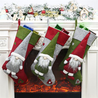 Wholesale santa rope resale online - Christmas Gift Socks Plush Christmas Santa Stocking With Hanging Rope For Xmas Tree Ornament Decorations Gift EEC2702