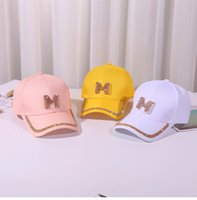 Wholesale baseball caps m resale online - New colors Letter M D Rhinestone Women Baseball Cap Female Solid Outdoor Adjustable Embroidered Hip hop Hats Summer Sunhat
