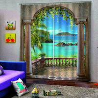 Wholesale roman shades for sale - Group buy Custom any size photo roman curtains d curtains new window balcony scenery curtains thickened windshield blackout curtain