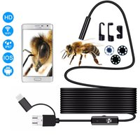 Wholesale micro usb 3.5 online – 7 mm HD micro USB endoscope LED m m m waterproof inspection soft and flexible steel cable