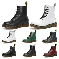 зеленые сапоги оптовых-2020 mens womens dr martin boots 1460 Black white Cherry Red Green Navy 2976 fashion martins Smooth Leather lace Boot winter shoes