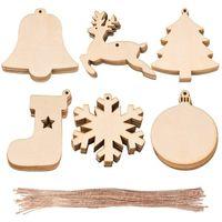 Wholesale natural christmas ornaments for sale - Group buy 10pcs bag Decoration Wooden Socks Christmas Tree Deer Natural Wooden DIY Christmas Tree Hanging Ornaments Xmas Pendant EWE2268