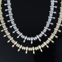wholesale 2021 New fashion Iced out bling oval shape 5A cubic zirconia tennis necklace women classic wedding engagement jewelry