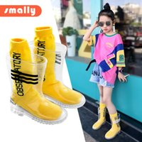 Wholesale boys rain boots for sale - Group buy Kids Boys Girls Rain Boots And Letter Sock Transparent Waterproof Striped Non Slip Rain Shoes Students Child Baby Shoes