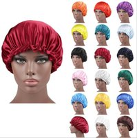 Wholesale wake up cover resale online - Women Sleep Cap New Satin Night Cap Artifical Silk Hat Double Side Wear Women Head Cover Cap Bonnet For Beautiful Hair Wake Up HWD162