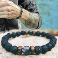 volcanic lava bracelet 2021 - Natural Volcanic Lava bracelet Rock Stone Strand Bracelets Wood bead Black Charm Stone jewelry Women Men accessories Gift