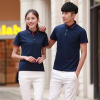 Wholesale golf t shirts resale online - 32 thread pearl mesh cotton Lapel polo shirt golf short sleeve T shirt print embroidery