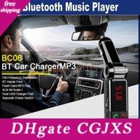 Wholesale bluetooth mini mp3 mp4 resale online - Bc06 Bluetooth Car Charger Bt Car Charger Mp3 Bc06 Mp3 Mp4 Player Mini Dual Port Aux Fm Transmitter
