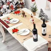 Wholesale kitchen chair set for sale - Group buy Supplies Party Wine Bottle Christmas Table Runner Chair Cover Tablecloth Placemats Set for Home Kitchen Gift ZU7B