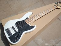 Wholesale white bass guitar strings for sale - Group buy 6 string bass guitar electric bass with white Pickguard maple fingerboard Chrome hardware personalized service
