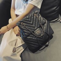 Wholesale pu backpack purses preppy for sale - Group buy Casual Women Backpack Luxury Soft PU Leather Backpacks Female Lingge Chain Shoulder Bag for Teenage Girls Travel Large Purses C1016