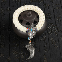 Wholesale tibetan jewelry bone for sale - Group buy Natural Snake Bone Beads Brace Tibetan Silver Elephant And Tooth With Chinese Cloisonne Vintage Style Beaded Jewelry