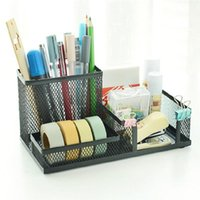 Wholesale pens holders resale online - 2pcs Holders Mesh Iron Ornament Container For Holder Decoration Metal Pen Storage Box Gifts Multifunctional bbymGa hotclipper
