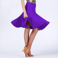 Wholesale white square dancing resale online - Square Latin Dance Skirt Sexy Dancing Skirt Dress Samba Tango Practice White Purple Latin Dress Performance Competition