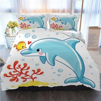 Wholesale 3d bedding set dolphins resale online - 3D Printed Merry Christmas Bedding Set Cute Cartoon Dolphin Duvet Cover Designer Bed Comforters Sets