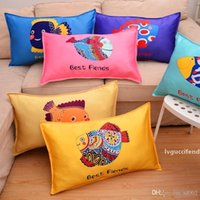 Wholesale lovely pillowcase resale online - Chinese Zodiac Printing Pillowcase Cartoon Comic Children Pillow Cover Lovely Student Household Vehicle Use Dog Rabbit dj A1
