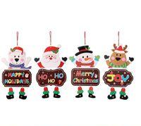 Wholesale christmas doors decorations resale online - Christmas Door Hanging Paper Santa Snowman Elk Bear Pendant Welcome door Window Decorations Hanging Home Window Christmas Decoration EWC3507