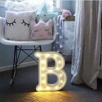 Wholesale marquee sign light resale online - 26 Letters White LED Night Light Plastic Marquee Sign Table Lamp For Birthday Wedding Party Bedroom Wall Hanging Decor Drop Ship C1007