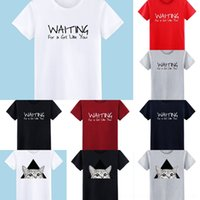Wholesale man printed cloth style resale online - DR3yC K956 short sleeve letter package round cotton lower sleeve packageneck printed loose T shirt blood half lower T shirt fashionable cloth