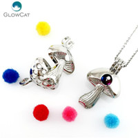Wholesale mushrooms necklace for sale - Group buy K676 Mushroom Beads Cage Pearl Cage Locket Pendant Necklace Pendant Locket Fairytale Party Essential Oil Diffuser Diy sqcWze new_dhbest