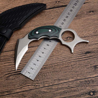 High Quality Karambit 440C Satin Blade Full Tang Micarta Handle Fixed Blades Claw Knives Tactical Knifes With Leather Sheath