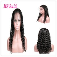 Wholesale lula hair resale online - MS Lula Lace Wig Pre plucked Lace Front Wig High Density With Baby Hair All Around Deep Wave Wigs Human Hair