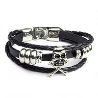 Wholesale skull rivets leather bracelet for sale - Group buy Cowhide men s Skull Punk jewelry leather rivet woven Cowhide men s Skull Punk jewelry leather rivet woven bracelet Bracelet KBV7S