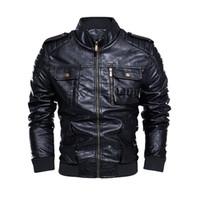 Wholesale leather jacket racing motorcycles for sale - Group buy Vintage Motorcycle Leather Jacket Men Leather Jacket Fleece Stand Collar Windbreaker Men Racing Car Chaqueta Hombre