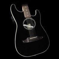 Wholesale electric acoustic guitars resale online - Solid Mahogany Top St Stratacoustic Standard Black Acoustic Electric Guitar Checkerboard Rosette Rosewood Fretboard Bridge Vintage Tuner