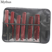 Resin Material Hair Cutting Comb 6Pcs Lot Hairdressing Comb Set With Black Bag Wide Teeth Flat Comb