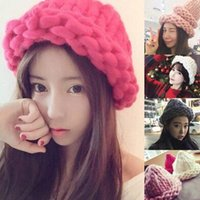 Wholesale handmade knitted hat adult resale online - Women Winter Warm Hat Handmade Knitted Coarse Lines Cable Hats Knit Cap Beanie Crochet Caps Women Accessories KH986726