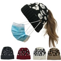 Wholesale boy caps white resale online - Leopard Designers Knit Winter Hat Women Beanies with Face Mask Button Skull Cap Fashion Ponytail Skullies Helmet Ski Sport Headwear D102703