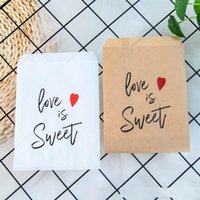 Wholesale popcorn favor bags for sale - Group buy Kraft Paper Love is Sweet Treat Favor Bags for Wedding Bride Shower Party Decorations Coffee Candy Popcorn Buffet Gift Bag