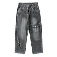 Wholesale men wearing size 28 jeans resale online - Hip Hop Jeans denim Men Workwear Pants Plus Size Korean Fashion Men Pants Loose Cropped Jeans Street Wear