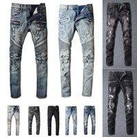 Mens Designer Jeans Distressed Ripped Biker Slim Fit Motorcycle Bikers Denim For Men s Fashion Mans Black Pants pour hommes