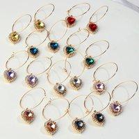 Wholesale large gold silver hoop earrings resale online - Flatfoosie Gold Silver Color Luxury Rhinestone Earrings Fashion Large Heart Crystal Hoop Earrings for Women Party Jewelry Gift