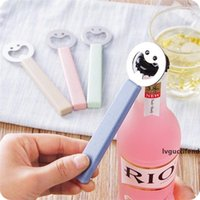 Wholesale happy man opener for sale - Group buy Smile Face Beer Bottle Openers Happy Man Openers Bottle Stainless Steel with Colors Plastic Handle