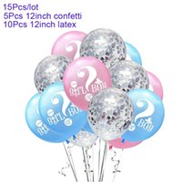 Wholesale marked baby resale online - 12 Inch Question Mark Boy Or Girl Confetti Balloons Baby Shower Sex Gender Reveal Balloon Birthday Party Decorations Kids S6xn bbykJv