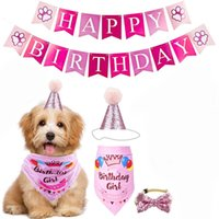 Wholesale birthday cakes dogs resale online - Dog clothes pet birthday party dog flag triangle scarf cake hat decoration props layout supplies holiday dress up set with free ship