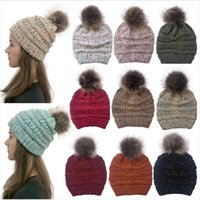 Wholesale ponytail beanie for sale - Group buy New Knitted Ponytail Hat Colors Winter Women Pompom Beanie Girls Warm Knitted Thick Outdoor Skulllies Hats DDA689