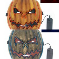 leichte gesichtsmaske groihandel-Props Glowing Led Outdoor Face Scary Pumpkin Costume Parties Carnival Mask Pvc Light Up for Halloween Q30 Best Quality ZFOS