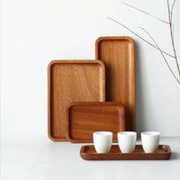 Wholesale food serves resale online - Solid Wood Pallet Rectangular Storage Trays Household Hotel Dessert Dinner Tea Food Tableware Serving Tray Home Kitchen Tools DHD2215