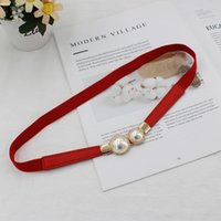 Wholesale elastic belts pearl for sale - Group buy lZP56 Women s dress fashion button double elastic thin belt versatile elastic waistband decoration Pearl Pearl waist P68WA
