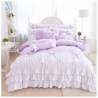 Wholesale ruffled bedding bedspreads resale online - 100 Cotton bedspread bed skirts princess bedding set king queen size Ruffles duvet cover bed set pillowcases Purple Color