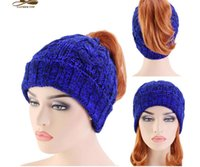 Wholesale ponytail beanie resale online - Wnter Women Knitted Crochet Ponytail Beanies Hats Fashion Ladies Soft Double Colors Warm Knitting Caps Gifts