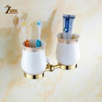 Wholesale Zgrk Cup Holders Brass Bath Hardware Sets Polished Porcelain Glass Bathroom Accessories Wall Mounted Bathroom Products wmtSRW loveshop01