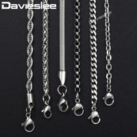 Wholesale 26inch chain resale online - Davieslee Chain Necklaces For Men Stainless Steel Silver Rolo Wheat Box Snake Chains Mens Necklace Classic mm inch LKNN1
