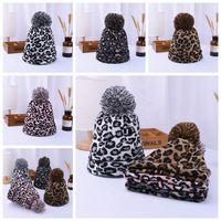 Women Winter Leopard Knitted Hats Fashion Pom Pom Beanies Warm Wool Knitted Has Bonnet Pom Beanie Caps Party Hats Supplies 4styles RRA3802