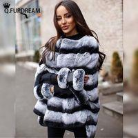Wholesale fur strips resale online - Q furdream Natural Rex Rabbit Fur Coat Chinchilla Color Winter Warm O neck Strips Overcoats Bat Sleeves Outerwear Customize